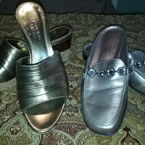 Franco Sarto size 7 metallic slides/twofer!
